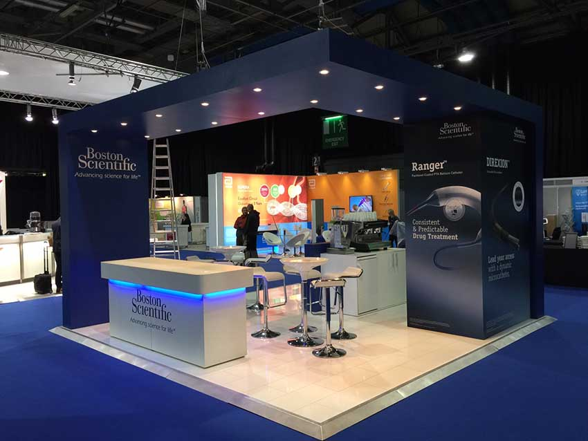 navy blue exhibition stand